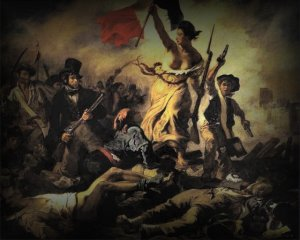 LA LIBERTE GUIDANT LE PEUPLE Tablou pictat de DELACROIX